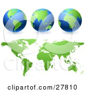 Green And Blue Globes And Green Maps Over A White Background