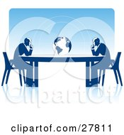 Two Business Men Seated At Opposite Ends Of A Table Facing A Globe Over A Blue Background On A White Surface Symbolizing Travel Ecology Or International Trade