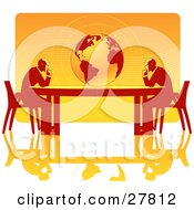 Two Business Men Seated At Opposite Ends Of A Table Facing A Globe Over A Gradient Orange Background On A White Surface Symbolizing Travel Ecology Or International Trade