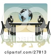 Clipart Illustration Of A Two Business Men Seated At Opposite Ends Of A Table Facing A Globe Over A Gradient Blue And Orange Background On A White Surface Symbolizing Travel Ecology Or International Trade
