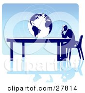 Businessman Seated At A Table Facing A Globe Over A Blue Background On A White Surface Symbolizing Travel Ecology Or International Trade