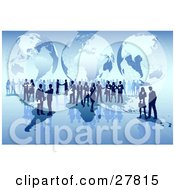 Business Men And Women Conducting International Business Over A Blue Map With A Globe Background