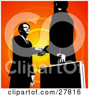 Poster, Art Print Of Two Businessmen Looking Into Each Others Eyes And Shaking Hands Over An Orange Circle Background