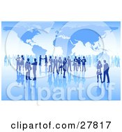 Clipart Illustration Of International Business People Conducting Business Over A Grid Surface With A Blue Map Background