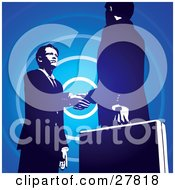 Poster, Art Print Of Two Businessmen Looking Into Each Others Eyes And Shaking Hands Over A Blue Circle Background