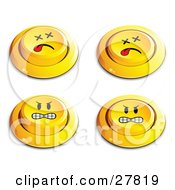 Clipart Illustration Of A Set Of Four Yellow Push Buttons With Dead And Angry Faces