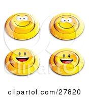 Clipart Illustration Of A Set Of Four Yellow Push Buttons With Grinning And Happy Faces