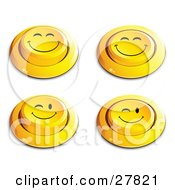 Set Of Four Yellow Push Buttons With Grinning And Winking Faces