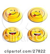 Clipart Illustration Of A Set Of Four Yellow Push Buttons With Laughing And Teasing Faces