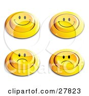 Set Of Four Yellow Push Buttons With Frowning And Smiling Faces