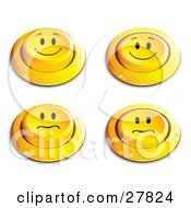 Set Of Four Yellow Push Buttons With Smiling And Nervous Faces