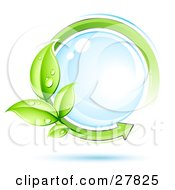 Clipart Illustration Of A Reflective Blue Orb Circled By An Arrow And Dew Covered Leaves