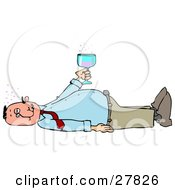 Clipart Illustration Of A White Man Laying On His Back After Passing Out From Getting Too Drunk Holding A Glass Of Alcohol Over His Belly by Dennis Cox