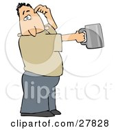 Clipart Illustration Of A White Man Scratching His Head And Holding Out A Tin Cup Hoping For Financial Assistance And Loans