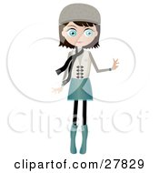 Clipart Illustration Of A Black Haired Blue Eyed Caucasian Woman Dressed In Blue And Beige Wearing A Hat And Scarf Standing And Holding One Arm Out