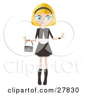 Clipart Illustration Of A Blond Haired Blue Eyed Caucasian Woman Dressed In Black And White Standing With Her Arms Out And A Purse Draped On Her Wrist