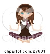 Clipart Illustration Of A Happy Brunette Caucasian Woman Sitting On The Floor And Meditating