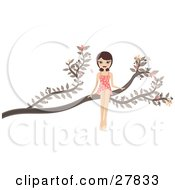 Clipart Illustration Of A Happy Brunette Caucasian Woman In A Pink Polka Dot Dress Sitting Out On A Tree Branch
