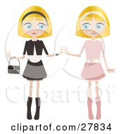 Two Blond Haired Blue Eyed Caucasian Women Twins Dressed In Pink And Black And White Standing Side By Side And Touching Hands