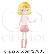 Clipart Illustration Of A Blond Haired Blue Eyed Caucasian Woman Dressed In Pink Standing And Holding One Arm Out by Melisende Vector