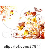 Clipart Illustration Of Orange And Yellow Autumn Leaves And Plants In The Upper Left And Lower Right Corners Of A White Background