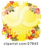 Clipart Illustration Of Green Orange Brown Red And Yellow Autumn Maple Leaves Framing A White Background Bordered By White Grunge