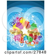 Clipart Illustration Of A Golden Star And Ribbons Over A Bursting Island Of Yellow Purple Orange Red Green And Blue Stars Over A Gradient Blue Retro Background Of Circles And Butterflies