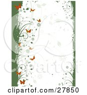 Clipart Illustration Of A White Background With Faded Flowers And Leaves Framed By Green Grunge With Vines And Orange Butterflies
