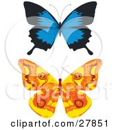 Clipart Illustration Of Blue And Black And Orange And Yellow Butterflies