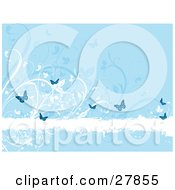 Clipart Illustration Of A White Grunge Text Bar Bordered With White And Blue Flowers And Butterflies by KJ Pargeter
