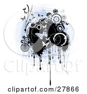 Clipart Illustration Of A Vertical Grunge Background Of Butterflies And Circles Over A Blue And Black Center With Drips Over White