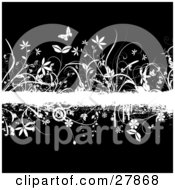 Clipart Illustration Of A White Grunge Text Bar Bordered With Flowers Circles And Butterflies Over A Black Background