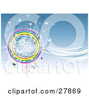 Clipart Illustration Of White And Blue Butterflies And Circles In A Round Rainbow On A Wave Of Blue And White Light by KJ Pargeter