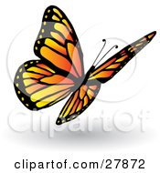 Clipart Illustration Of A Pretty Orange And Yellow Butterfly With Black Markings And Spots