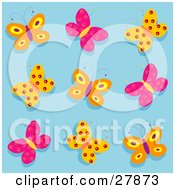 Clipart Illustration Of A Group Of Orange Purple And Pink Butterflies Over A Blue Background by KJ Pargeter
