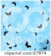 Clipart Illustration Of Silhouetted Butterflies Fluttering Over A Blue Flower Background by KJ Pargeter