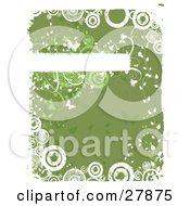 Clipart Illustration Of A White Grunge Text Bar Bordered With Flowers And Butterflies Over A Green Background With White Circles And Borders