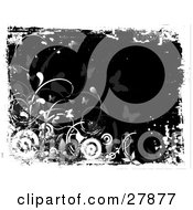 Clipart Illustration Of White Circles Flowers And Plants Over A Black Background With Faded Butterflies by KJ Pargeter