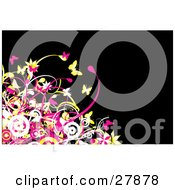 Clipart Illustration Of A Black Background With White Pink And Yellow Circles Flowers Vines And Butterflies In The Lower Left Corner by KJ Pargeter