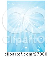 Clipart Illustration Of A Blue Background With Bursts Of Sunlight From The Sun White Vines And Butterflies