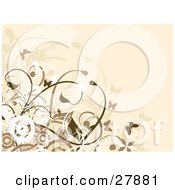 Clipart Illustration Of A Beige Background With White And Brown Butterflies And Vines by KJ Pargeter