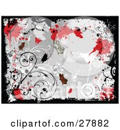 Clipart Illustration Of A White Black Gray And Red Grunge Background Of Butterflies Circles Flowers And Splatters by KJ Pargeter