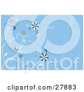 Clipart Illustration Of A Background Of Blue And White Trails Of Dots Flowers And Butterflies by KJ Pargeter