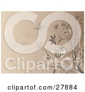 Clipart Illustration Of Brown Butterflies Flying Near Brown And White Flowers On A Beige Background by KJ Pargeter