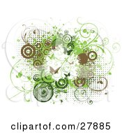 Clipart Illustration Of A White Grunge Background With Green And Brown Dots Vines Circles And Butterflies by KJ Pargeter