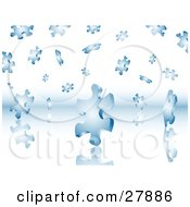 Clipart Illustration Of A Background Of Blue Puzzle Pieces Falling On A Reflective Surface by KJ Pargeter