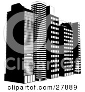 Clipart Illustration Of A Row Of Tall City Highrise Buildings In Black And White
