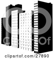 Clipart Illustration Of Tall City Skyscrapers In An Urban Setting Black And White