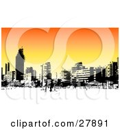 Clipart Illustration Of A Skyline Of Benidorm Buildings In Black And White Over An Orange Background