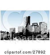 Clipart Illustration Of Black And White Benidorm City Skyscraper Buildings With A Blue Background
